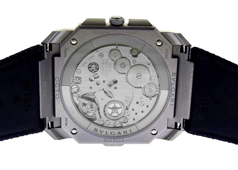 【未使用品】ブルガリ 103371 オクト フィニッシモ クロノグラフ GMT TI 黒文字盤 自動巻き ラバー