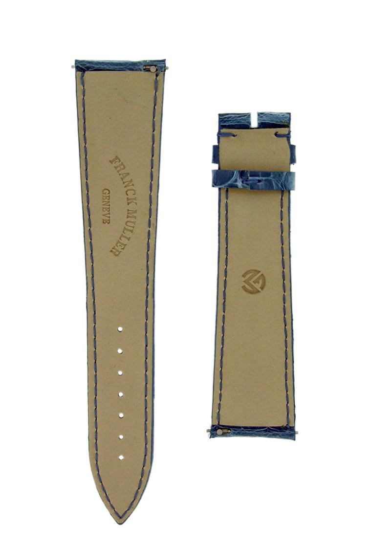 フランクミュラー レザーストラップ  8080用 クロコダイル ブルージーンズ(艶無) 22-18mm