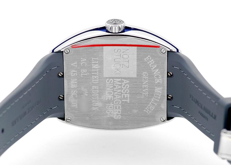 フランクミュラー V45 MB SCDT AC BL ヴァンガード マスターバンカー SS シルバー/ブルー文字盤 自動巻き ラバー/アリゲーター