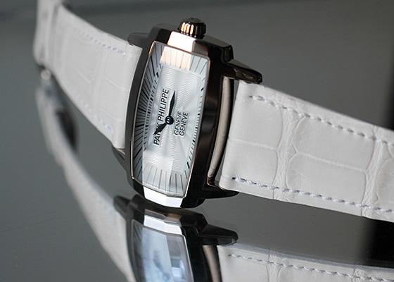 【中古】 パテックフィリップ レディース 4980G-001 ゴンドーロ ジェンマ WG 白シェル文字盤 クオーツ レザー
