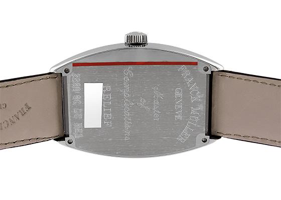 フランクミュラー 8880SCDT RELIEF トノーカーベックス レリーフ SS 黒文字盤 自動巻き レザー