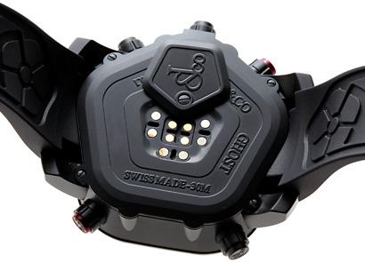 ジェイコブ JC-GST-WHD2.9 デジタル ファイブタイムゾーン ゴースト ダイヤモンド(2.9カラット)ベゼル(赤プッシュ) SS(PVD) 黒文字盤 クォーツ ラバー
