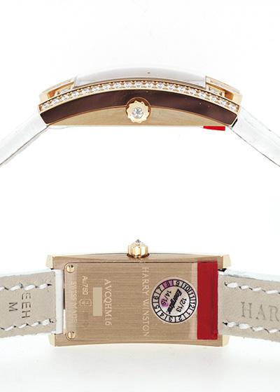 ハリーウィンストン AVCQHM16RR037 レディース アヴェニューC ミニ アールデコ ベゼルダイヤ PG シルバー文字盤/ダイヤモンド クォーツ レザー