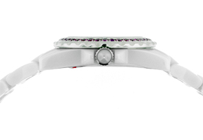 シャネル H3243 レディース J12 ベゼルピンクサファイア 29mm セラミック 白シェル文字盤/8Pダイヤモンド  クォーツ ブレスレット