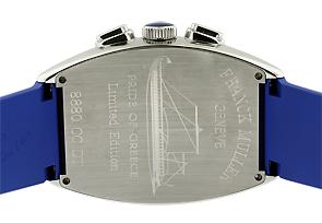 【世界限定50本】フランクミュラー 8880CCAT PRIDE OF GREECE トノーカーベックス クロノグラフ プライドオブグリース SS シルバー文字盤 自動巻き ラバー