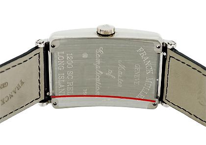 フランクミュラー 1200SC RELIEF ロングアイランド レリーフ 18KWG シルバー文字盤 自動巻き レザー