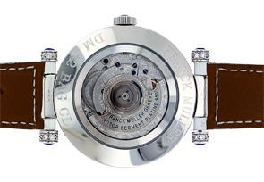 フランクミュラー 42 DM BAG CD ダブルミステリー バゲットサファイア WG ダイヤモンド文字盤 自動巻き レザー