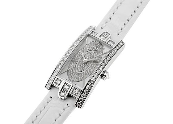 ハリーウィンストン AVCQHM16WW052 レディース アヴェニューC ミニ エリプティック WG 白シェル/ダイヤモンド文字盤 クォーツ レザー