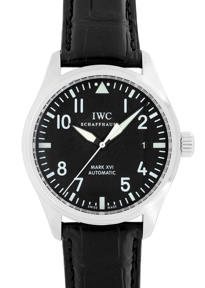 【中古】IWC IW325501 パイロットウォッチ マークXVI SS 黒文字盤 自動巻き レザー
