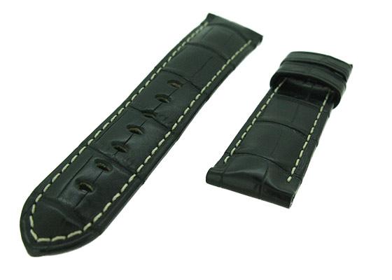 オフィチーネパネライ レザーストラップ ルミノール 40mm用 クロコダイル ブラック/白ステッチ(艶無) 22-20mm