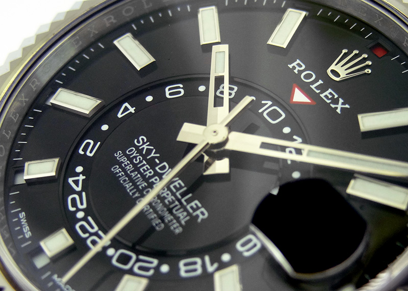 【中古】ロレックス 326934 オイスターパーペチュアル スカイドゥエラー WG/SS 黒文字盤 自動巻き ブレスレット