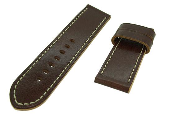オフィチーネパネライ レザーストラップ ルミノール 47mm用 白ステッチ カーフ ブラウン 26-26mm