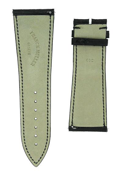 フランクミュラー ストラップ 10000K用 クロコダイル ブラック(艶有) 30-24mm