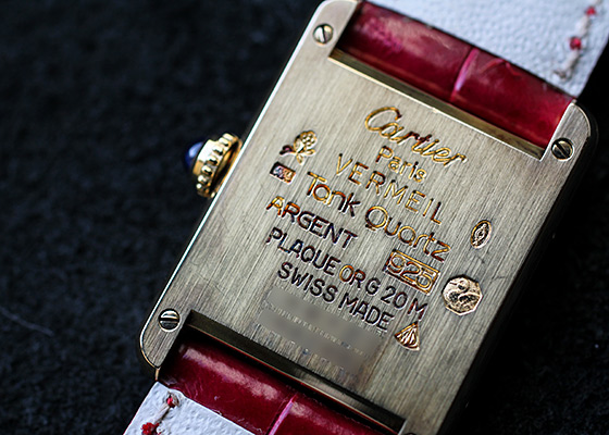 【ヴィンテージ】カルティエ レディース マストタンク ヴェルメイユ SM SV/GP スリーカラー文字盤 クォーツ レザー