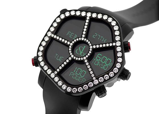 ジェイコブ JC-GST-WHD3.48 デジタル ファイブタイムゾーン ゴースト ダイヤモンド(3.48カラット)ベゼル(赤プッシュ) SS(PVD) 黒文字盤 クォーツ ラバー