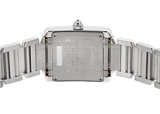 【中古】 カルティエ WE1002S3 レディース タンクフランセーズSM ベゼルダイヤ 18KWG 白文字盤 クォーツ ブレスレット