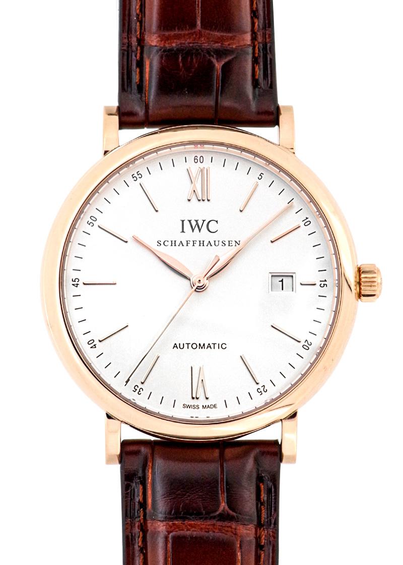 【中古】IWC IW356504 ポートフィノ PG シルバー文字盤 自動巻き レザー