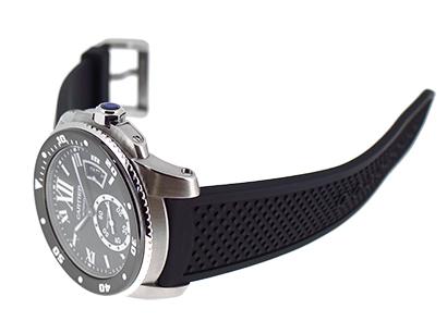 カルティエ W7100056 カリブルドゥカルティエ ダイバー SS 黒文字盤 自動巻き ラバー