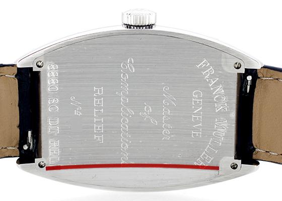 フランクミュラー 8880SCDT RELIEF トノーカーベックス デイト レリーフ SS シルバー文字盤 自動巻き レザー