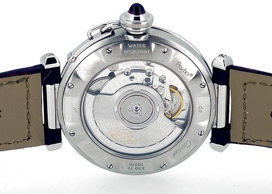 【中古】カルティエ W3102255 パシャ グリッド 150周年記念モデル SS シルバー文字盤 自動巻き レザー