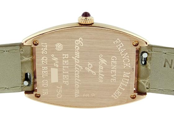 フランクミュラー 1752QZ REL CD1R レディース トノーカーベックス クロンヌ PG レリーフ1重ダイヤモンド文字盤 クォーツ レザー