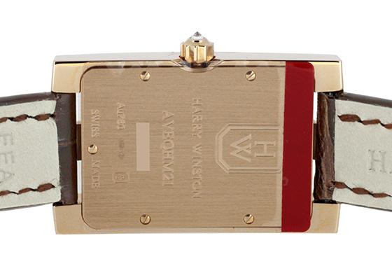 ハリーウィンストン AVEQHM21RR119 レディース アヴェニュー ダイヤモンド ドロップス ダイヤモンドベゼル RG ブラウン文字盤 クォーツ レザー