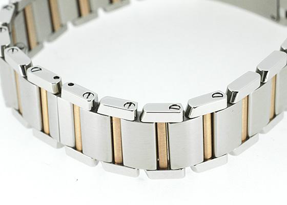 カルティエ WE110004 レディース タンク フランセーズ SM PG&SS シルバー/11Pダイヤ文字盤 クォーツ ブレスレット