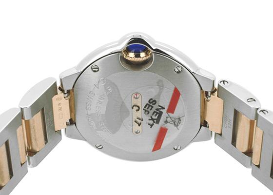 カルティエ W3BB0025 レディース バロンブルーSM ベゼルダイヤモンド PG&SS シルバー文字盤 クォーツ ブレスレット