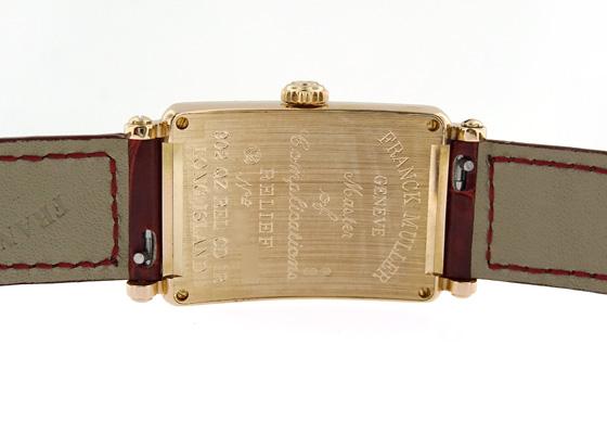 フランクミュラー 902QZ REL CD1R レディース ロングアイランド クロンヌ PG レリーフ1重ダイヤモンド/ボルドー文字盤 クォーツ レザー