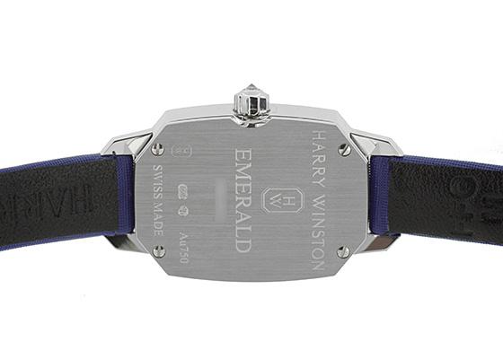 ハリーウィンストン EMEQHM18WW001 エメラルド WG ブルー文字盤 クォーツ サテン