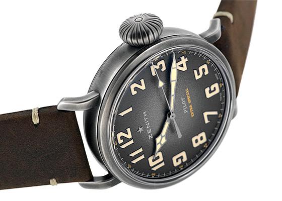 ゼニス 11.2430.679/21.C801 パイロット タイプ20 エクストラスペシャルTON-UP SS グレー文字盤 自動巻き レザー
