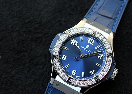ウブロ 361.SX.7170.LR.1204 レディース ビッグバン スチール ブルーダイヤモンド SS ブルー文字盤 クォーツ アリゲーター/ラバー