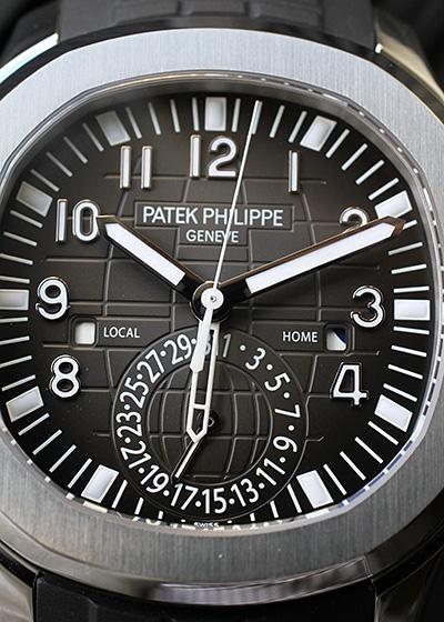 パテックフィリップ 5164A-001 アクアノート トラベルタイム SS 黒文字盤 自動巻き ラバー