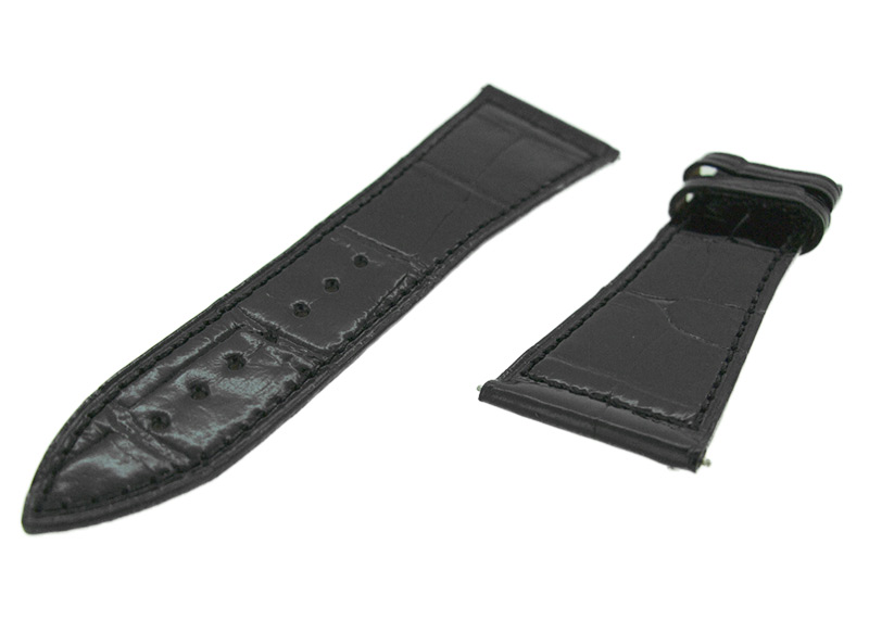 フランクミュラー レザーストラップ 6000H用 クロコダイル ブラック(艶有) 26-19mm