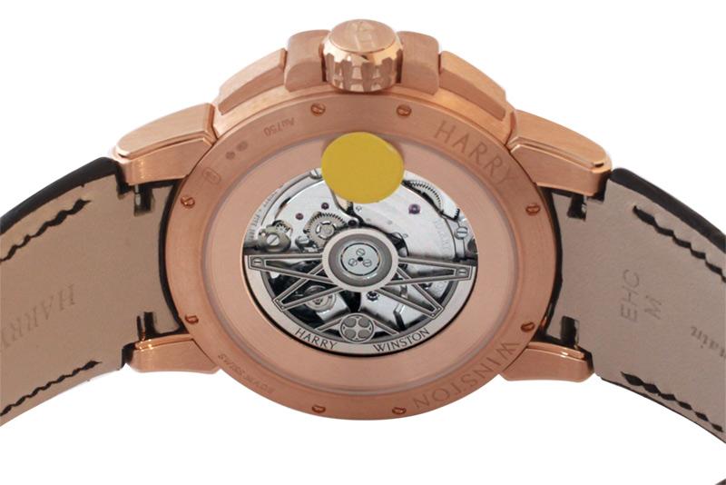 【即日ご注文可】ハリー ウィンストン OCEAHR42RR001 オーシャン レトログラード オートマティック 42mm PG 黒文字盤 自動巻き レザー