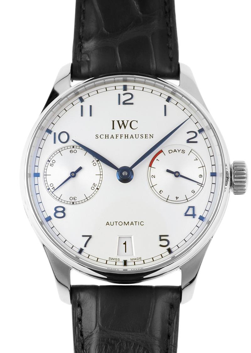 【中古】IWC IW500107 ポルトギーゼ オートマティック 7DAYS SS 白文字盤 自動巻き レザー