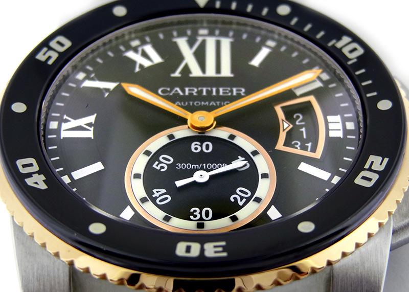 【中古】カルティエ W7100054 カリブル ドゥ カルティエ ダイバー PG/SS 黒文字盤 自動巻き ブレスレット
