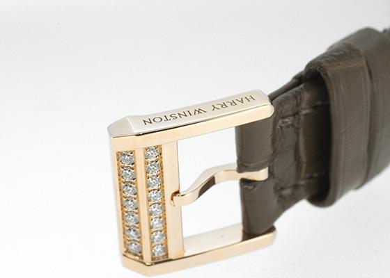ハリーウィンストン PRNQHM31RR001 レディース プルミエール ベゼルダイヤモンド 18KRG シェル文字盤 クォーツ レザー