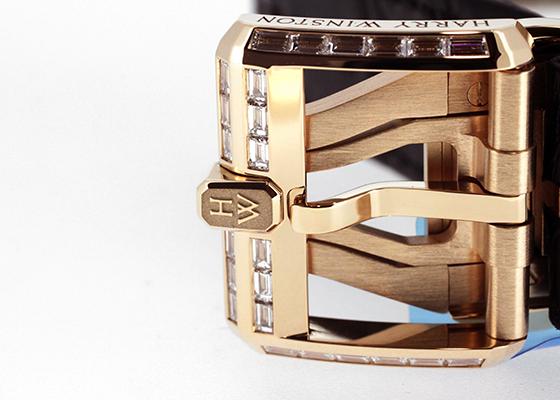【未使用品】ハリーウィンストン OCEATZ44RR012 オーシャン デュアルタイム バゲットダイヤモンドベゼル RG スケルトン文字盤 自動巻き レザー