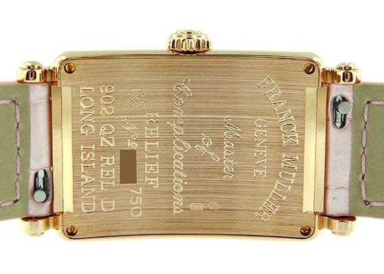 フランクミュラー 902QZD RELIEF レディース ロングアイランド ダイヤモンドベゼル レリーフ PG シルバー文字盤 レザー