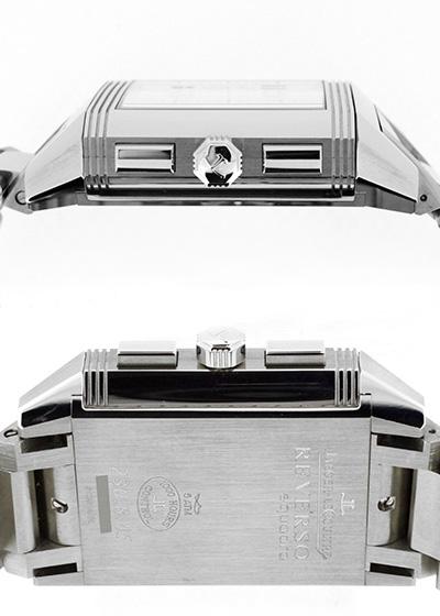 【未使用品】ジャガールクルト Q7018120(230.8.45) レベルソ スクアドラ クロノグラフ GMT SS シルバー文字盤 自動巻き ブレスレット