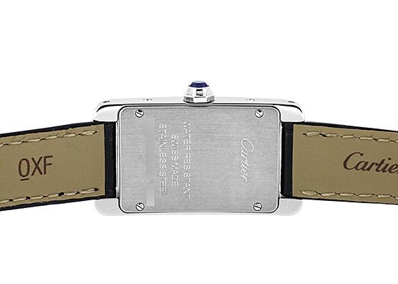 カルティエ WSTA0016 レディース タンクアメリカン SM SS シルバー文字盤 クォーツ レザー