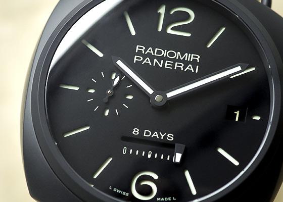 【中古】オフィチーネ パネライ PAM00384 ラジオミール 8デイズ セラミカ CE 黒文字盤 手巻き レザー
