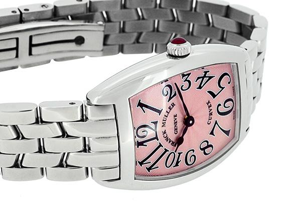 フランクミュラー 1752QZ レディース トノーカーベックス SS ピンク文字盤 クォーツ ブレスレット
