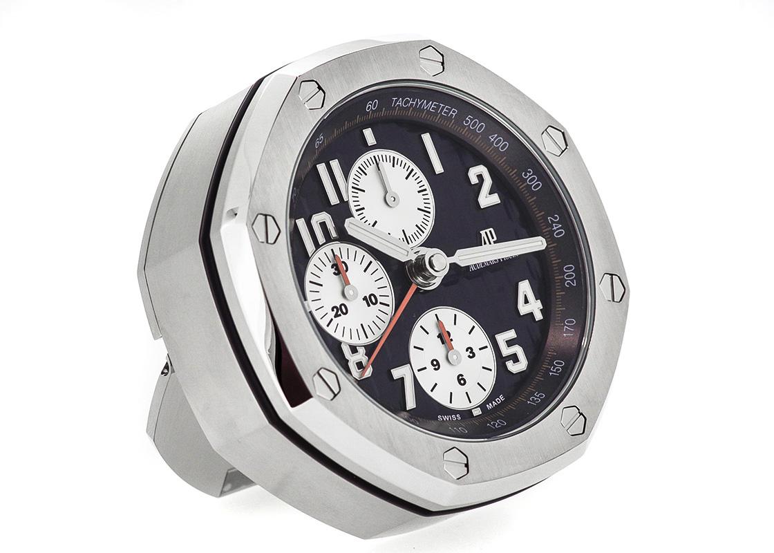 オーデマピゲ ロイヤルオーク オフショアクロノグラフ テーブルクロック SS ブルー文字盤 クォーツ 置き時計