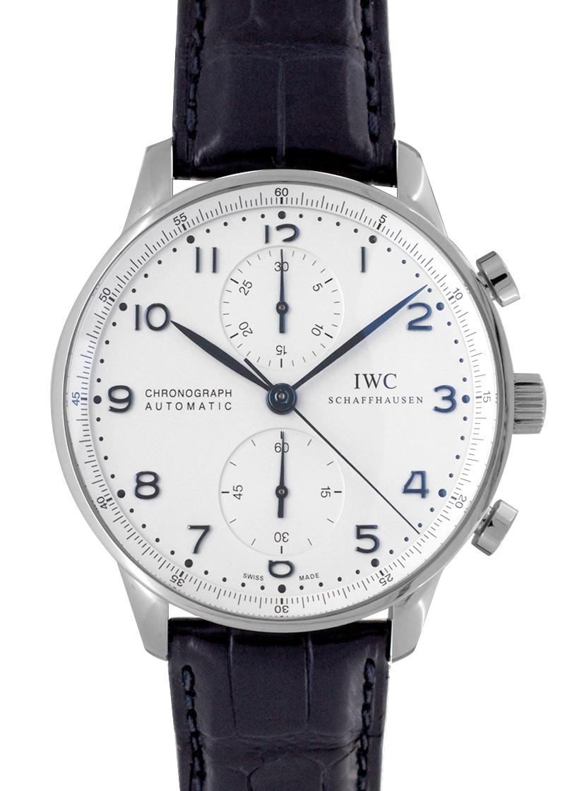 【中古】IWC IW371446 ポルトギーゼ クロノグラフ SS シルバー文字盤/青針 自動巻 レザー