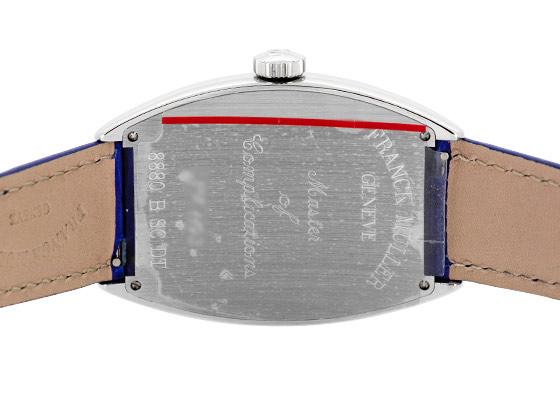 フランクミュラー 8880SCDT  トノーカーベックス デイト  SS ブルー文字盤 自動巻き レザー