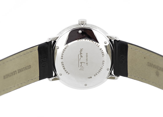 ユンハンス 027 3501 00 マックスビル オートマティック SS 白文字盤 自動巻き レザー