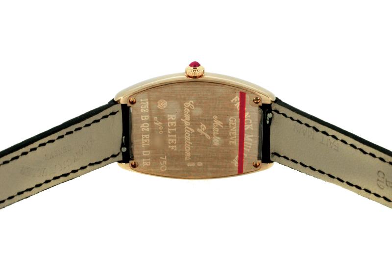 フランクミュラー 1752QZ REL D レディース トノーカーベックス レリーフ ダイヤモンド RG シルバー文字盤 クォーツ レザー