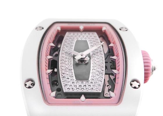 【中古】リシャールミル RM07-01 レディス オートマティック JAPAN PINK 日本限定40本 ATZ/WG スケルトン文字盤 自動巻き ラバー